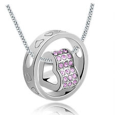 NEW Women Fashion Heart Purple Crystal Silver Charm Pendant Chain Necklace YB1S8