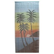 Tropical Sunset Design Bamboo Door Curtain, Wall Art, Reversible - 90 x 200 cm