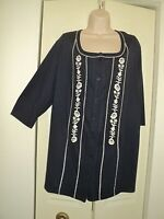 Woman Within Blue Embroidered Womens 3/4 Sleeves BOHO Peasant Blouse TOP 1X
