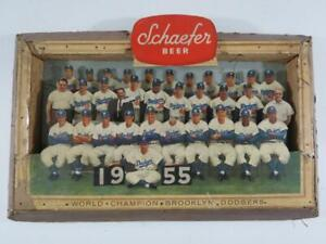 1955 Brooklyn Dodgers Baseball 3-D Schaefer Beer Advertising Sign