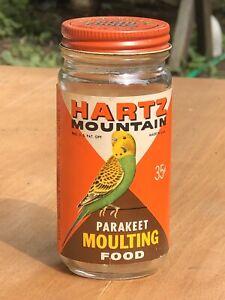 Vintage Hartz Mountain Parakeet Moulting Food Glass Jar With Paper Label