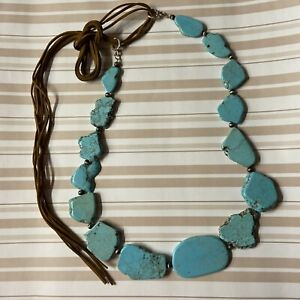 """🟢 Turquoise Slap Neckless  25"""" 6 Oz Brown 52"""" 3 Ribbons Suede Mother's Day Gift"""