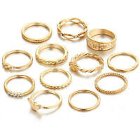 12pcs Gold Boho Stack Plain Above Knuckle Ring Midi Finger Tip Rings Set Jewelry