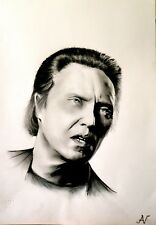 Christopher Walken - ritratto portrait grafite e carboncino cm. 33 x 48