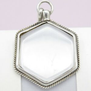 Antique Victorian Sterling Silver Hexagon Double Glass Photo Locket Pendant