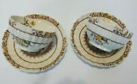 Set Of 2 Copeland Spode BUTTERCUP Brown Lable Tea Cups And Saucers England EUC