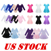 US Kids Ballet Dance Dress Girls Gymnastics Leotards Ballerina Cotton Dancewear