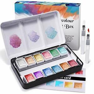 Metallic Watercolour Paint Set, Premium Glitter Watercolour Solid Paint