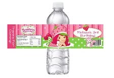 STRAWBERRY SHORTCAKE CUSTOM BIRTHDAY PARTY FAVORS WATER BOTTLE LABELS WRAPPERS