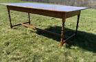 Large vintage solid tiger maple dining table trestle base turned legs wooden pin