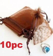FD5279 Coffee Organza Bag Pouch For Jewellery Holidays Wedding X'mas Gift 10PC
