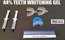Home Teeth Whitening 44% Carbamide Peroxide 2 Syringe Kit Mouth Guard UV Light
