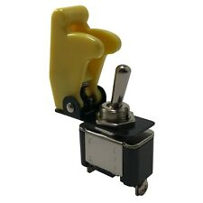Heavy Duty On Off Metal Toggle Switch 25A 12V & Yellow Switch Flip Up Cover - UK