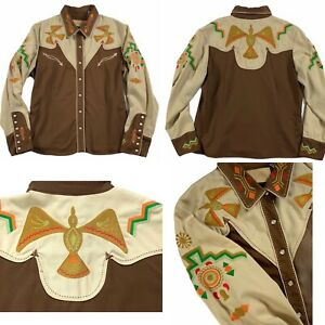 Scully Western Shirt Rodeo Cowgirl Southwest Phoenix Embroidered Pearl Snap XL