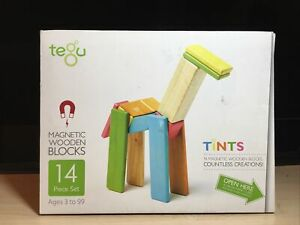 Tegu Magnetic Wooden Blocks 14 Piece Set EUC