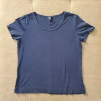 Women's ANN TAYLOR Loft Short Sleeve Scoop Neck Navy Blue Medium T-shirt Top