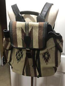 Ecote Indian Blanket Aztec Black Leather Trim Large Backpack Satchel Bag