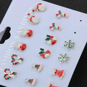 Christmas Earrings Set 8 Pair Santa Tree Reindeer Snowflake Bells Women Gift UK