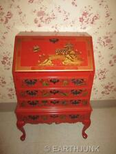 Maddox Drop Front Chinoiserie Desk Oriental Red Paint Hand Decorated Gilt