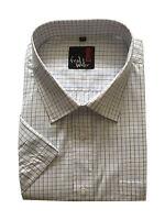 Mens Short Sleeve Check And Plain Shirts Reg to Big Sizes M -5XL Cotton Blend