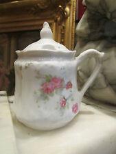 ancien moutardier en porcelaine decor floral epoque 1900