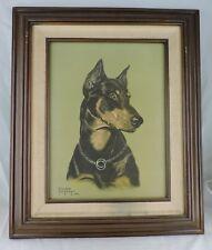 Vintage Doberman Pinscher Dog Portrait Print Poster Framed Wall Hanging Signed