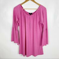 Melissa Paige Womens Large Pink Bell Sleeve Scoop Neck Tunic Top