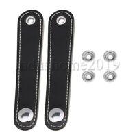 2Pcs PU Leather Accordian Straps 14x2.5cm for Bass Accordion Black