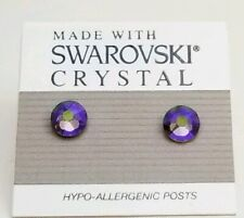 Purple Round Stud Earrings 7mm Light Crystal Circle Made with Swarovski Elements