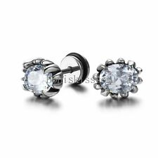 Silver Stainless Steel Round White Rhinestone Fake Ear Plugs Stud Earrings