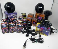 Lot of 17 Black Light Bulbs & Bases Various Sizes & Brands Halloween Party