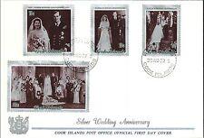 QE II SLIVER WEDDING ANNIVERSARY (1972) No Address - Cook Island FDC *RARE*