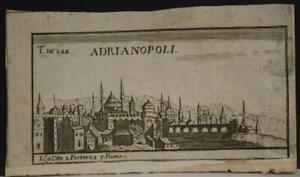 ADRIANOPOLI EDIRNE TURKEY 1699 MUZIO UNUSUAL ANTIQUE COPPER ENGRAVED CITY VIEW