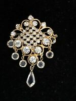 Vintage High End Brooch Pin Crystal Faceted Rhinestones With Dangles