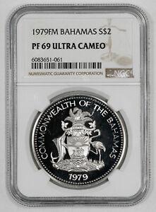 1979FM PROOF BAHAMAS SHIELD FLAMINGO S$2 NGC PF 69 ULTRA CAMEO MINTAGE 2053 (061