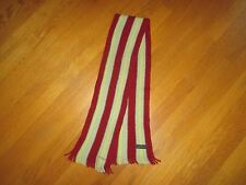 Paul Smith Maroon Blue Striped Wool Fringed Scarf
