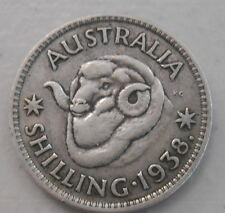 1938  Australian Silver 1/- One Shilling ( Shilling) KING GEORGE VI  (very Nice)