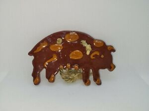 Foltz Redware Pottery Pig Ornament 4.5 inches wide, 3 inches height