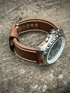 Mens Quality Genuine Thick Brown Leather Watch Strap 24mm (24/24mm) Lug Watches