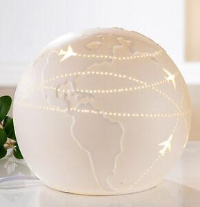 Gilde Porzellan Lampe Kugel Weltenbummler 16 cm Fensterlampe Dekolampe 32165