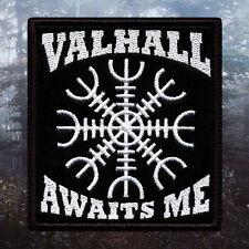 Valhall Awaits Me Aegishjalmr | Embroidered Patch | Pagan / Viking | Paganism
