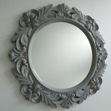 Light Grey Rustic Effect Round Wall Mirror Antique Style home Decor Wall Mirror