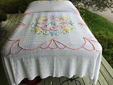 wh / floral VINT CHENILLE BEDSPREAD 88x102 peach yellow blue green 1 of 2 a pr.