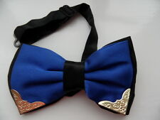 ROYAL BLUE/BLACK 2 LAYER SATIN MEN'S PRE-TIED BOW TIE WITH GOLD METAL CORNERS