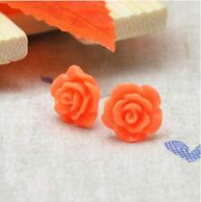 10Colors Genuine 10mm Coral Rose Flower Silver Stud Earring