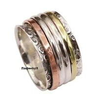 925 Sterling Silver Spinner Ring Wide Band Meditation Statement Jewelry A236