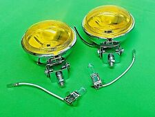VESPA ACE MOD CHROME 90MM SPOT LIGHTS WITH YELLOW COLOURED GLASS