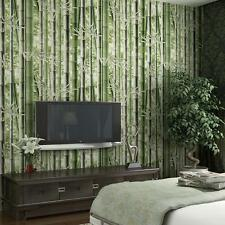Green Natural Style Classical wallpaper Non-woven 3D Bamboo Retro Rolls 10M PVC