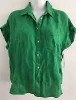 NWD ZARA GREEN LINEN SHIRT WITH POCKET COLLARED TURN-UP SLEEVES Size M  SEE PIC