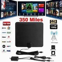 Amplified HD TV Antenna Free Channels 13ft Cable HDTV 4K VHF/UHF Fox 350 miles